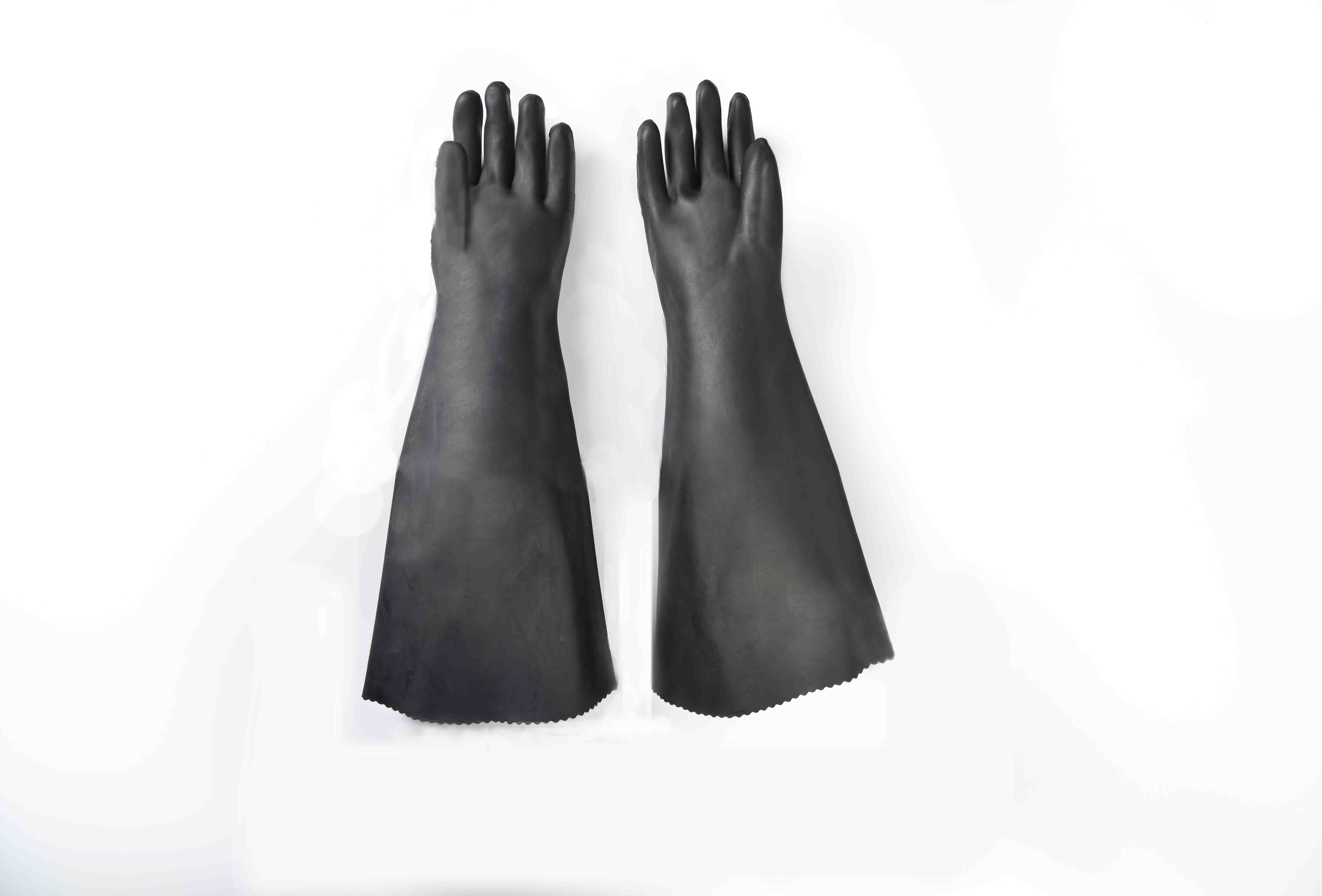 Wholesale price for 24″ rubber glove with cotton linning-smooth finish Hongkong Factory