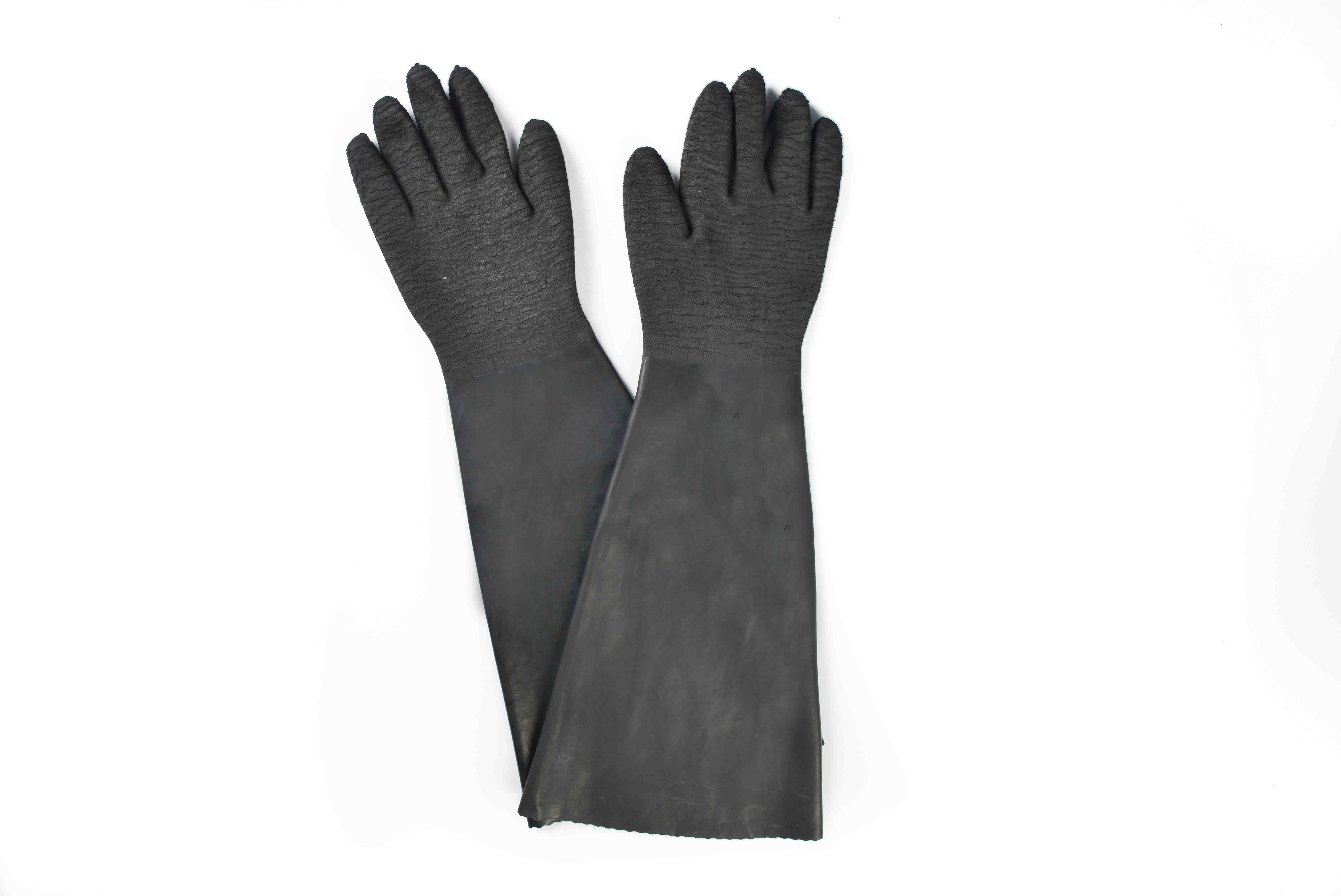 Good quality 100% 24″ rubber glove with cotton linning-rough finish supply for Orlando