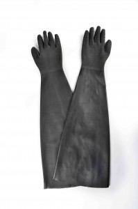 32″ rubber glove with cotton linning-rough finish