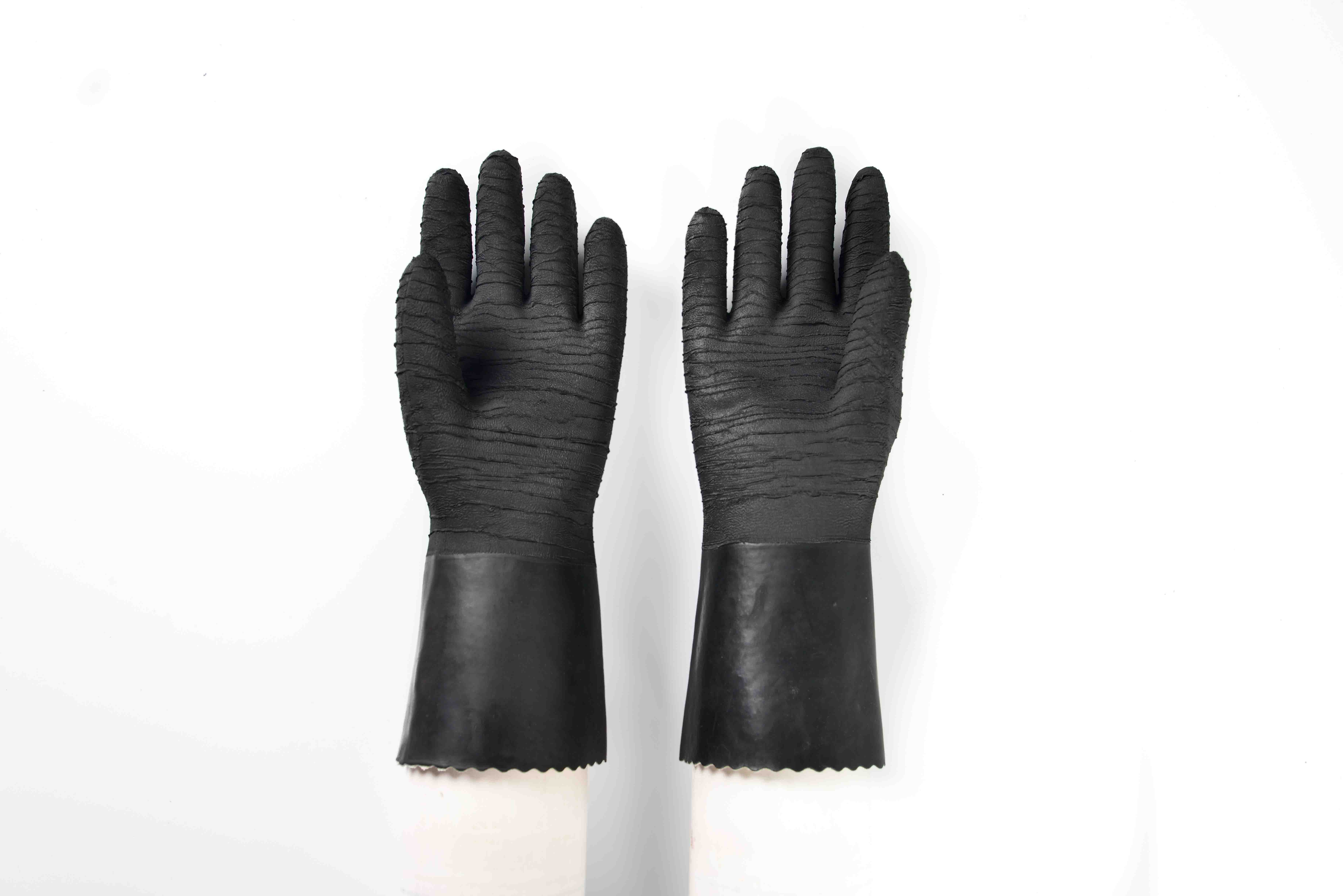 Low price for 12″ rubber glove with cotton linning-rough finish Russia Supplier