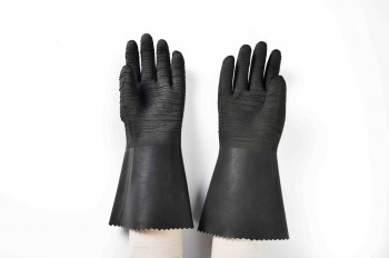 14″ rubber glove with cotton linning-rough finish